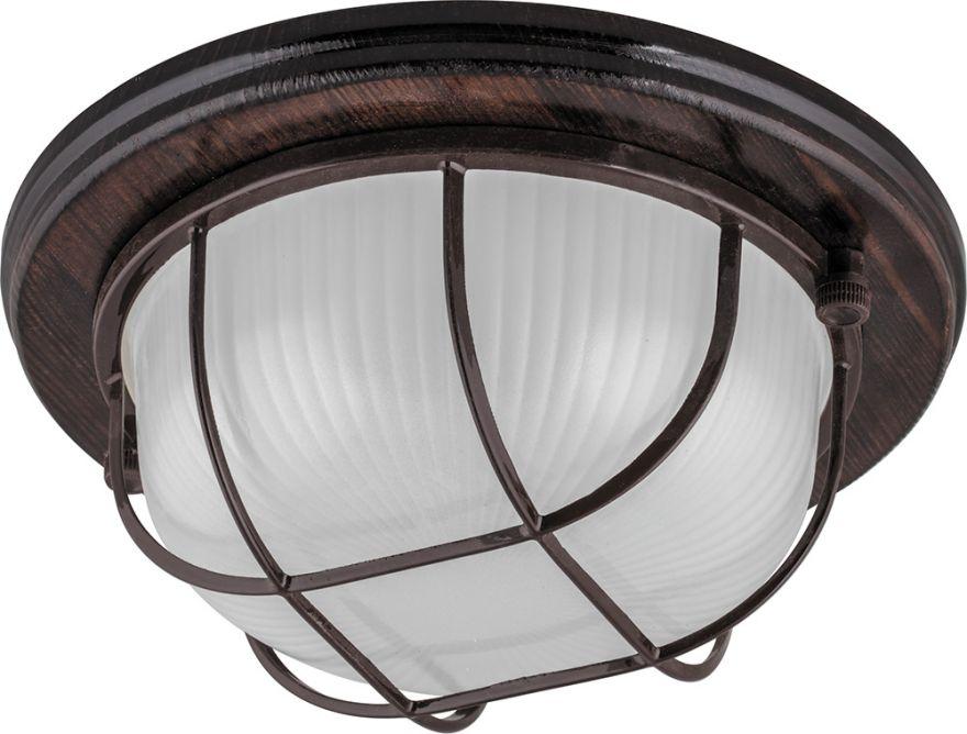 Светильник накладной IP54, 220V 60Вт Е27, дерево, орех, круг, с решеткой, НБО 03-60-022