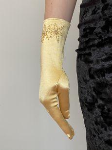 Атласные перчатки цвета золота