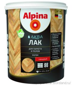 Лак для пола и паркета Альпина / Alpina шелковисто-матовый водный лак