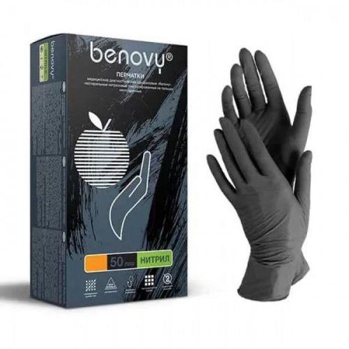 Перчатки нитриловые нестерильные неопудренные Benovy | р-р M | 1 пара