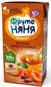 "Напиток Фрутоняня 0,2 л яблоко-изюм-курага ""компот"" т/п"