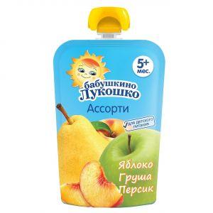 Пюре Бабушкино лукошко 90гр из яблок груш и персиков м/у