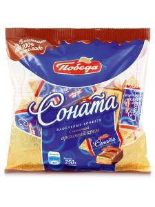 Конфеты Соната 200 гр вафельные с начинкой ореховый крем в слив. шоколаде
