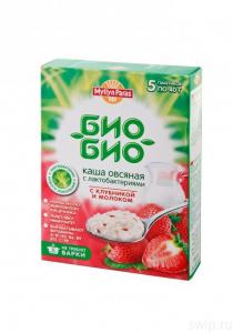 """Каша овсяная Био-Био 40 гр с клубникой и молоком """"Мюллюн Парас"""""""