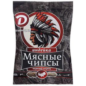 Мясные чипсы из Индейки с/в с красн.черн. перцем 25гр Дымов
