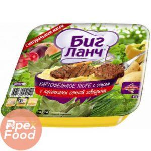 Лапша яичная с кусочками говядины (лоток) 110г*24 БИГ ЛАНЧ