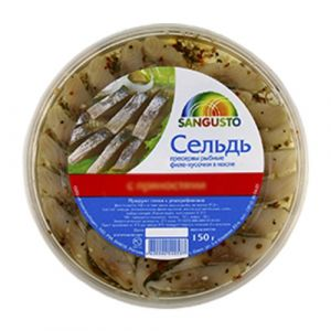 """Горбуша, сельдь """"Sangusto"""" ф/к в масле 150 г"""