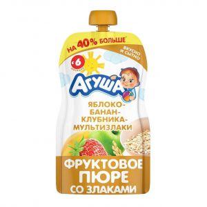 Пюре фруктово-зерновое Агуша 130 гр Ябл-банан-клубника-мультизлаки
