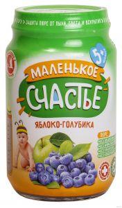 Пюре Маленькое счастье 180г Яблоко/Голубика ст/б