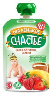 Маленькое счастье Банан-Клубника со сливками 90гр