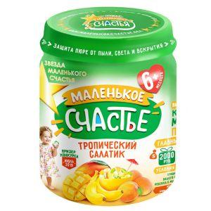 Пюре Маленькое счастье 90гр тропический салатик (яблоко, абрикос, манго, банан)
