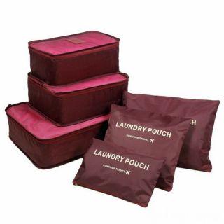 Набор дорожных сумок для путешествий Laundry Pouch, 6 шт, Бордовый