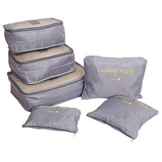 Набор дорожных сумок для путешествий Laundry Pouch, 6 шт, Серый