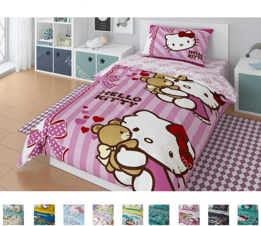 """Детское постельное белье """"Hello Kitty"""" Поплин 1,5-спальный комплект (наволочка 50х70)"""