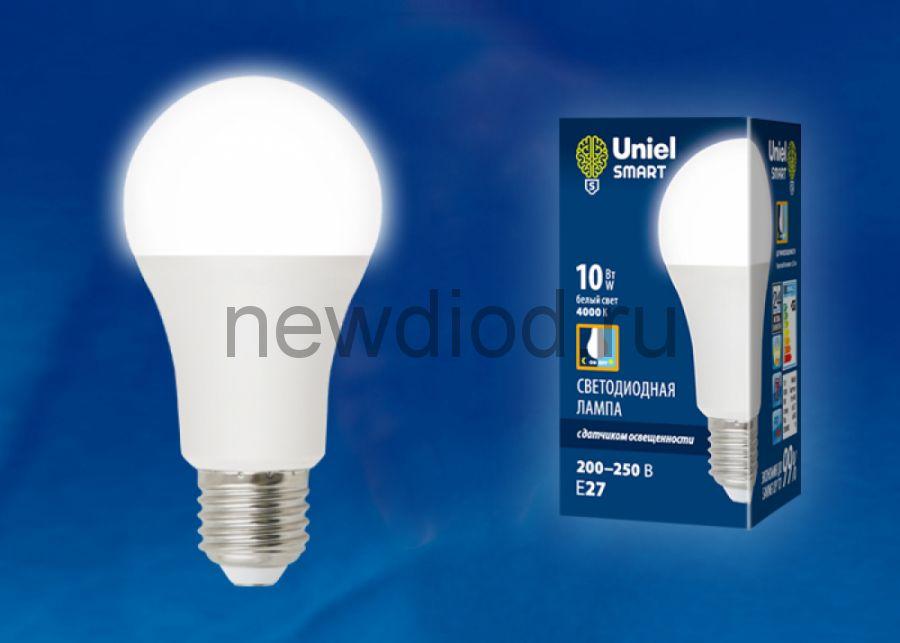 Лампа светодиодная с датчиком освещенности LED-A60-10W/4000K/E27/PS PLS10WH