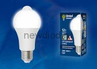 Лампа светодиодная с датчиком освещенности и датчиком движения LED-A60-12W/4000K/E27/PS+MS PLS10WH