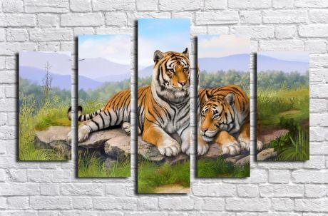Модульная картина Пара тигров