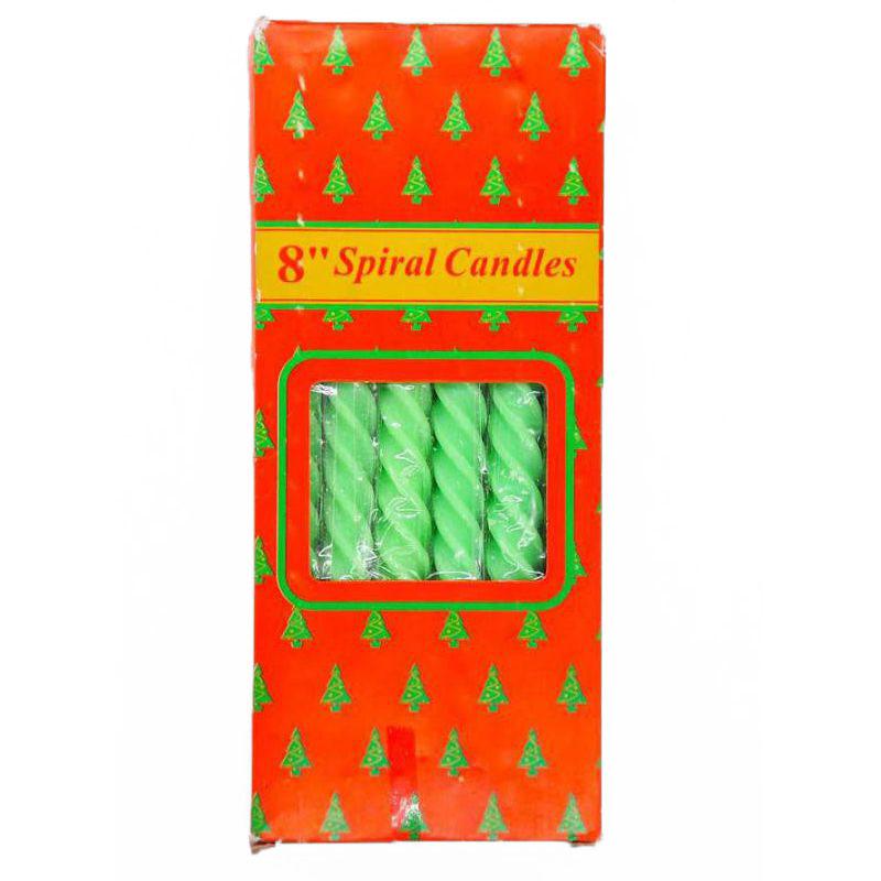 Свечи парафиновые витые Spiral Candles 20см 12шт (цвет зелёный)