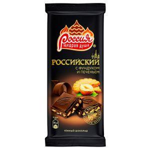 Шоколад темный РОССИЯ Фундук/печенье 90г