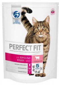 Корм для кошек PERFECT FIT взрослой кошки с говядиной 650г