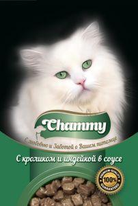 Корм для кошек CHAMMY Пауч кролик/индейка в соусе 85г