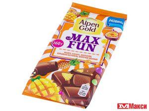 Шоколад ALPEN GOLD MaxFun Взрывная карамель/манго/ананас/маракуйя /рисовые шарики 160г