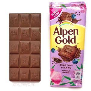 Шоколад ALPEN GOLD Молочный какао-бобы и черника 85г