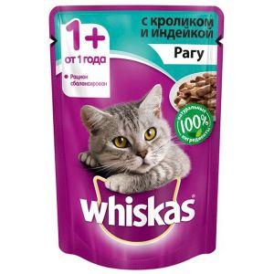 Корм для кошек WHISKAS рагу кролик/индейка 85г