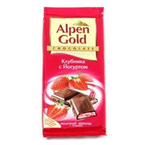 Шоколад ALPEN GOLD с клубнично-йогуртовой начинкой 90г