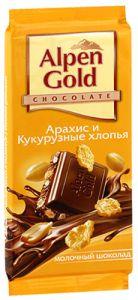 Шоколад ALPEN GOLD Молочный арахис/кукурузные хлопья 90г