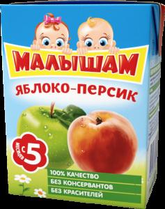ДП Нектар ФРУТОНЯНЯ Малышам Яблоко/персик неосветленный 200г