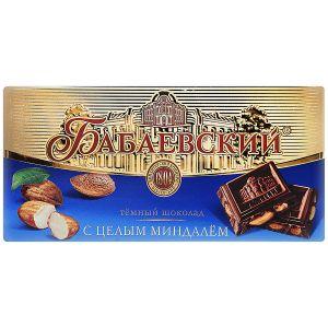 Шоколад БАБАЕВСКИЙ с цельным миндалем горький 200г