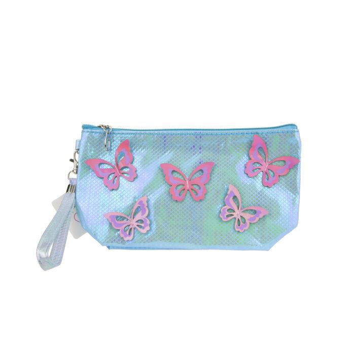 Lukky косметичка с голограф. накладными бабочками бирюзовая,24х13см,бирка,пакет