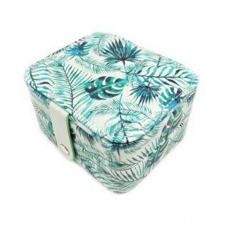 Компактная шкатулка для ювелирных изделий, Цвет: Зелёный, Орнамент: Папоротник