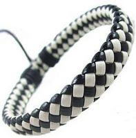 Кожаный плетеный браслет цвета домино
