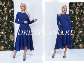 Элегантное синее платье с расклешенной юбкой