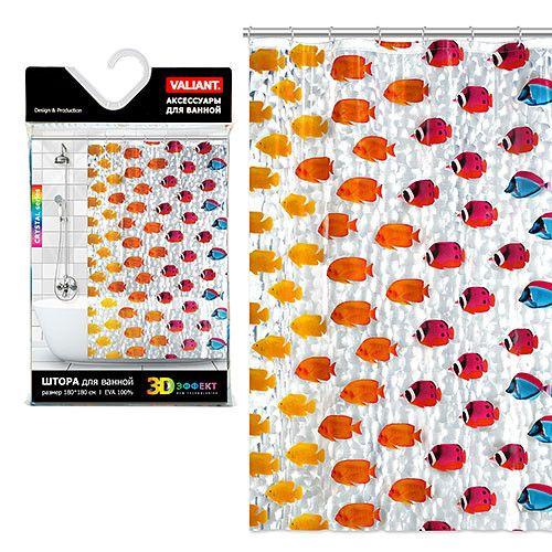 Штора для ванной комнаты с кристаллическим эффектом, 180*180 см, COLOR FISHES