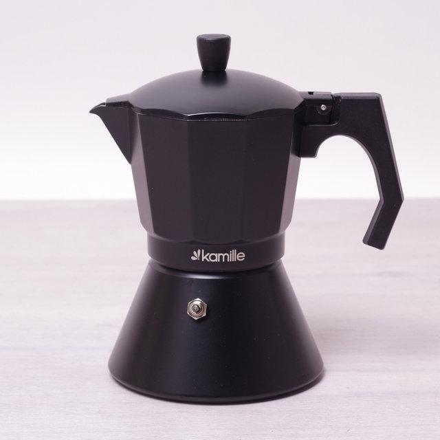 Кофеварка гейзерная 450мл (9 порций) из алюминия с широким индукционным дном КМ-2513 Kamille