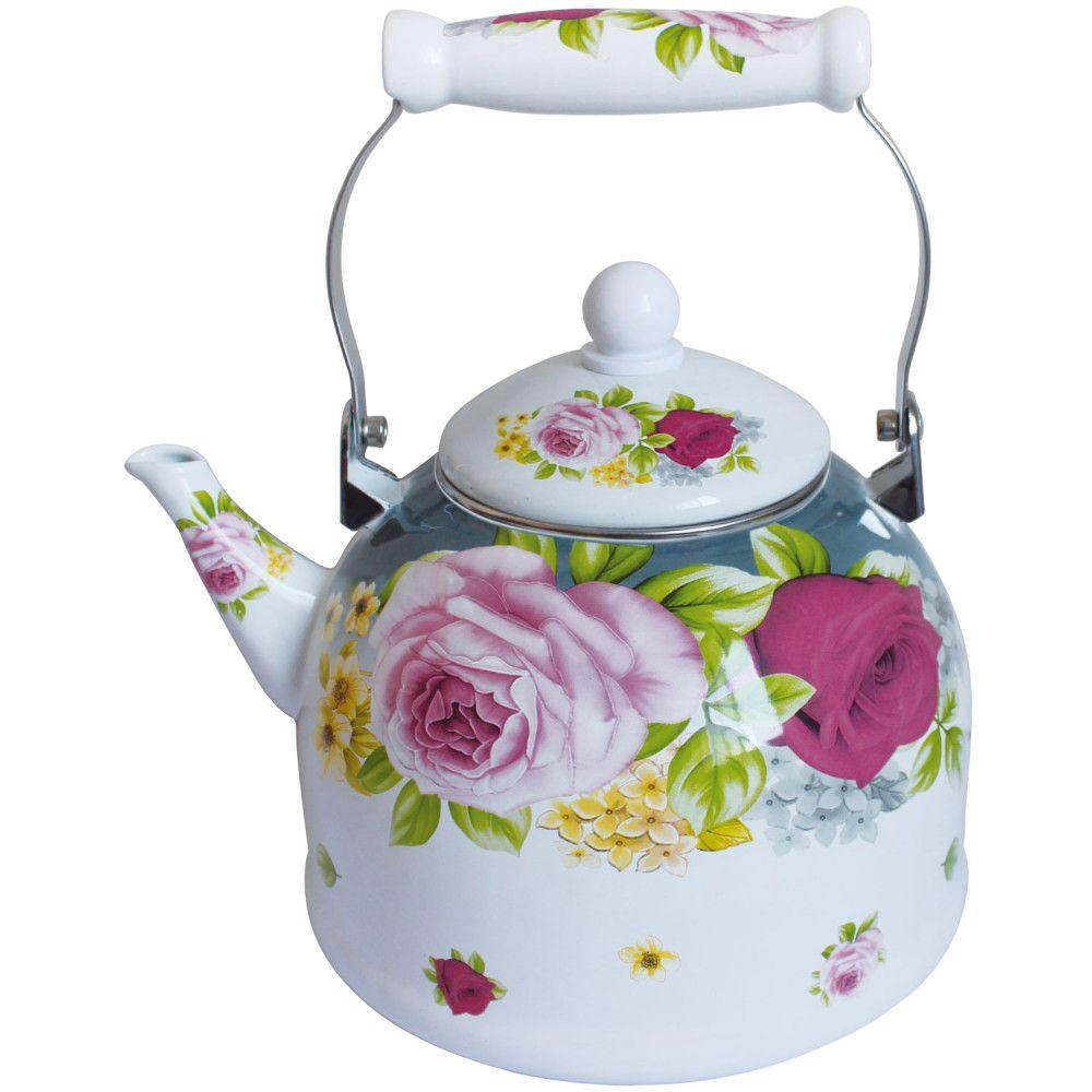 Чайник эмалированный RSKL - 7532-35 3,5л / керамическая ручка/ с декором/ Rainstahl