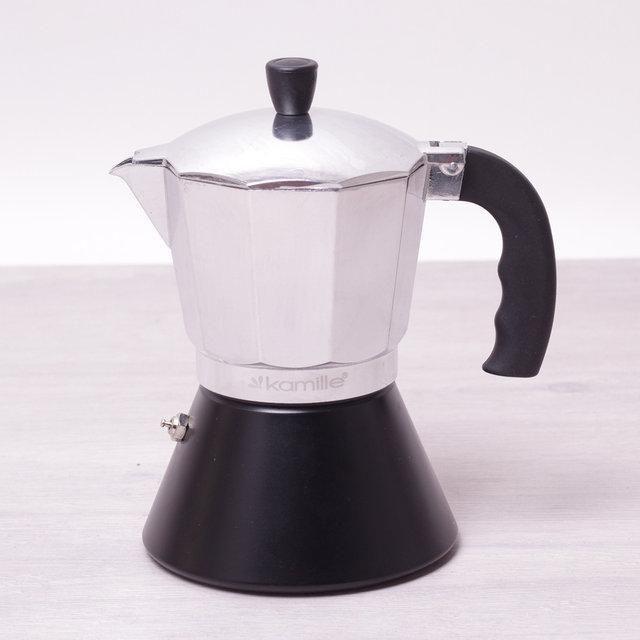 Кофеварка гейзерная 150мл (3 порции) из алюминия с широким индукционным дном КМ-2506 Kamille