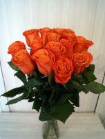 15 роз - Оранж краш (60 см)