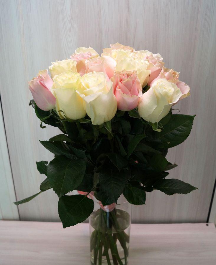 15 роз - Пинк Мондиаль и Мондиаль (60 см)
