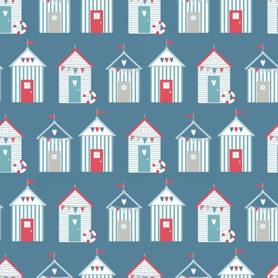 Хлопок Перкаль Морские домики на синем 50х40