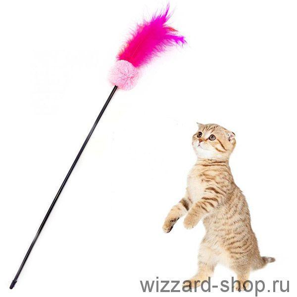 Игрушка для кошек Дразнилка с помпоном и перьями, 52 см