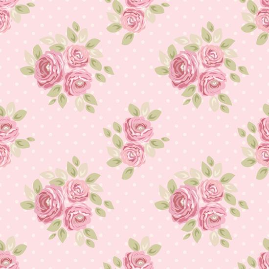 Хлопок Перкаль Букетики на розовом 50х40