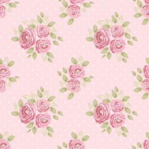 Хлопок Перкаль Букетики на розовом 50х37