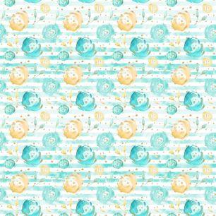 Хлопок Перкаль Мятные цветы с полосками 50х37