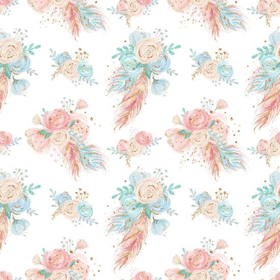 Хлопок Перкаль Свежие цветочки 50х40