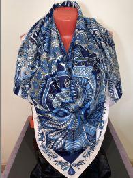 Большой шелковый платок Hermes (синий), арт. 058