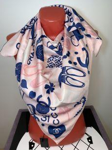 """Шелковый платок Chanel, """"логомания"""" (розовый), арт. 036"""